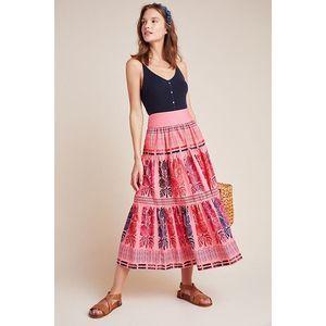 New Anthropologie Auberte Poplin Tiered Midi Skirt